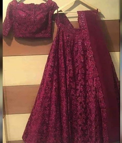 Maroon Net New Party  Lehenga Crop Top Blouse Online