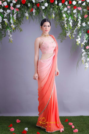 Light Peach And Orange Shaded Georgette Party Saree Online Shopping