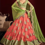 New Peach Net Shop For Lehengas Online