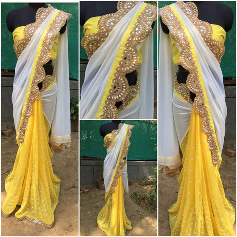 Cream And Yellow Bollywood Style Sarees ,Indian Dresses - 2