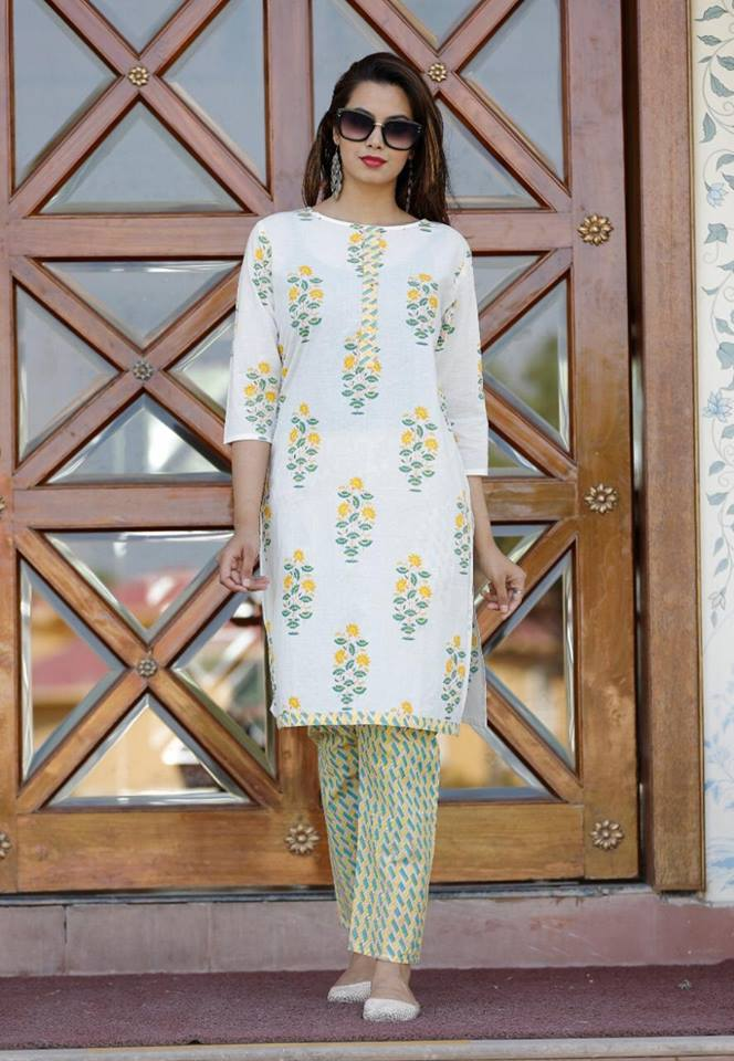 Off White Cotton Ethnic Style Kurta and Palazzo Sets Online Buy