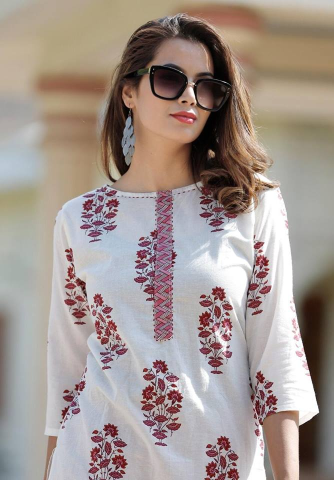 Off White Cotton Trendy Kurta Palazzo Set India Online Shop