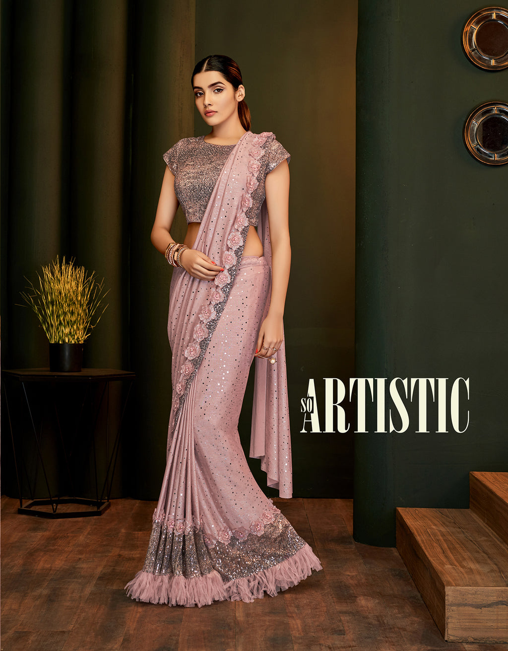 Pink Glittered Lycra Shimmer New Fashion Saree