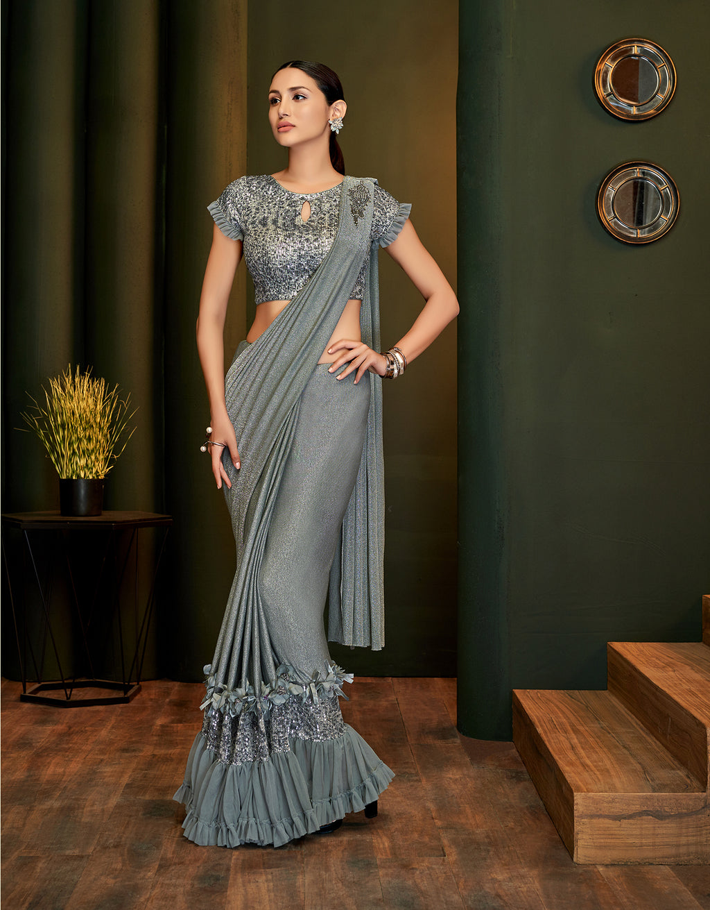 Grey Lycra Shimmer Fancy Saree Online Shopping
