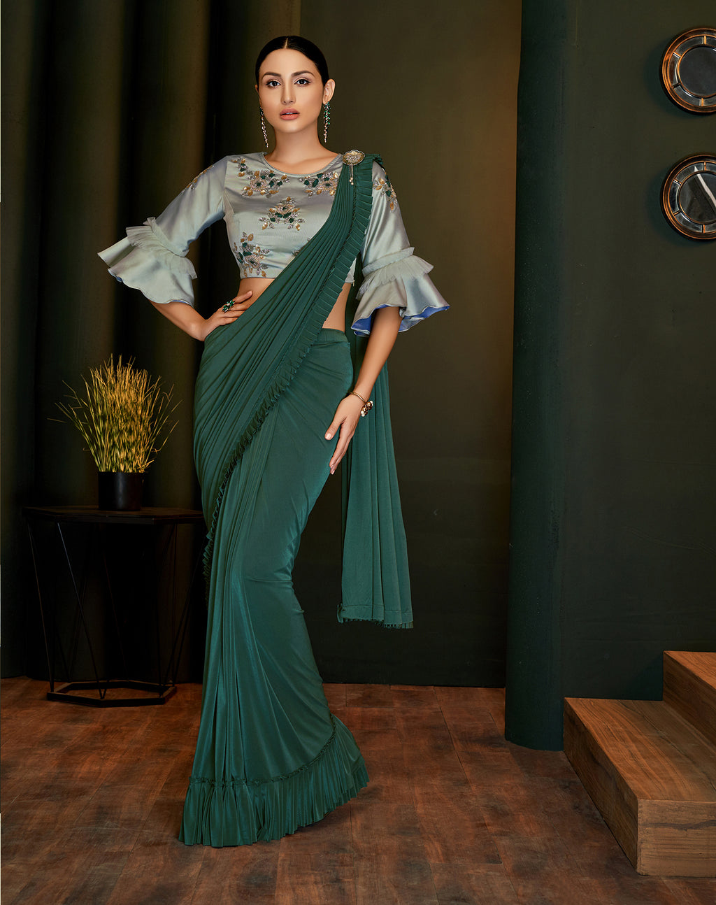 Teal Green Lycra Fancy Saree Indian Dresses Online Shopping