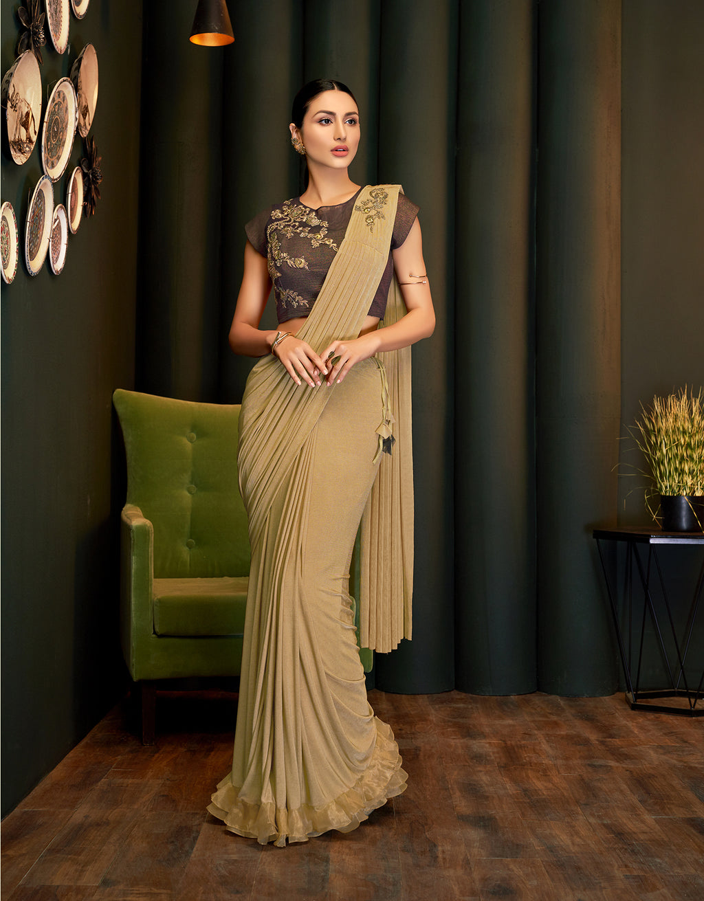 Beige Lycra Latest Saree Fashion @Indiandresses.co