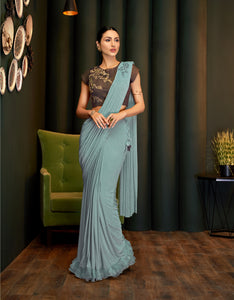 Bluish Grey Lycra Beautiful Sarees Online Shopping