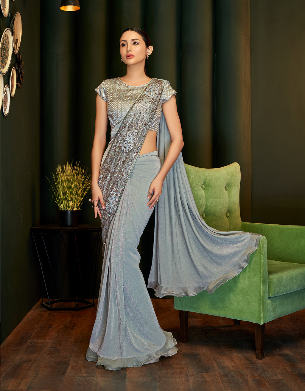 Grey Lycra Shimmer Online Shopping For Womens Sarees