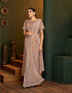 Misty Rose Lycra Shimmer Ladies Sarees Online Shopping India