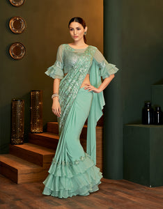 Sea Green Lycra Online Purchase Of Sarees In India