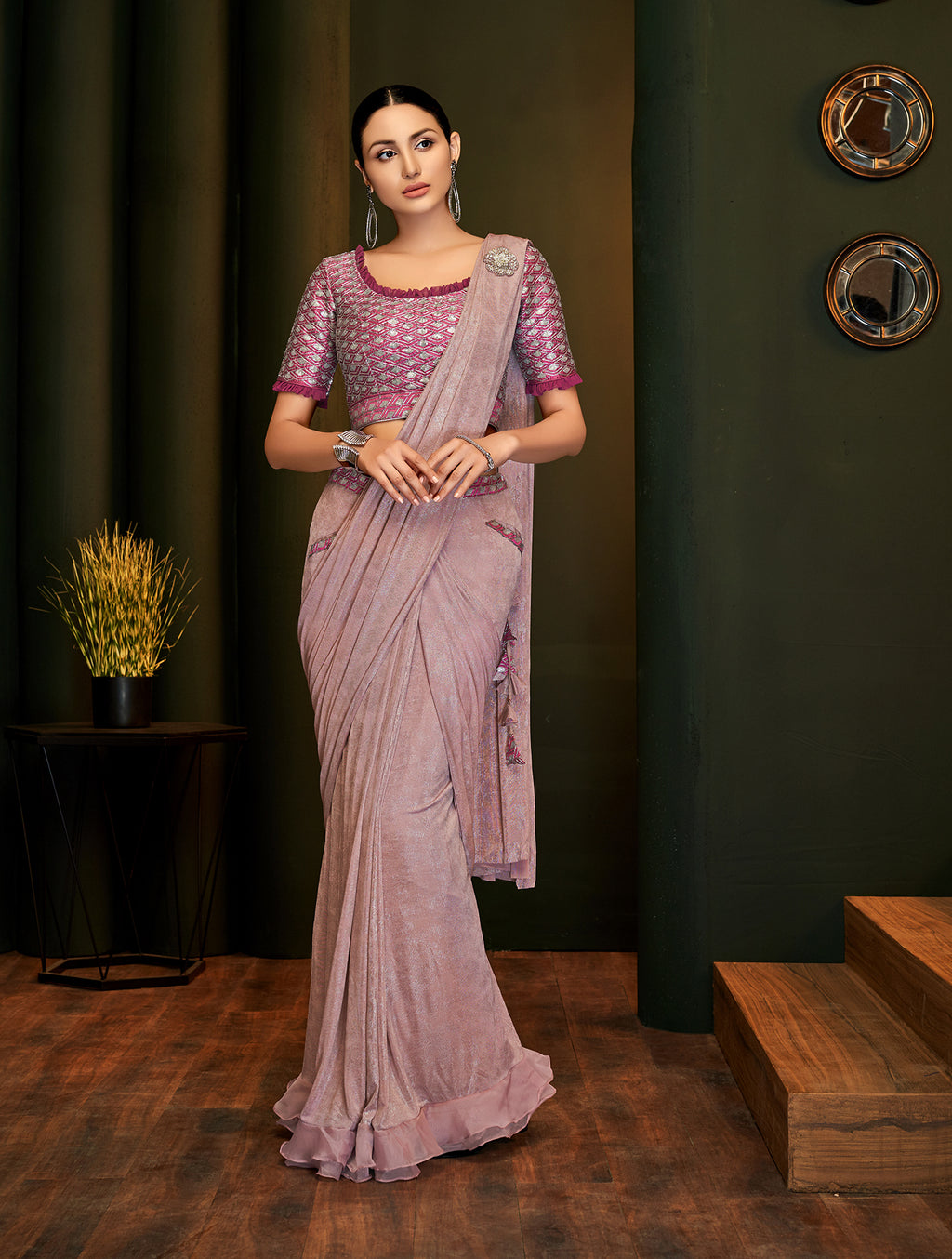 Misty Rose Lycra Shimmer Latest Sarees Online Shopping India