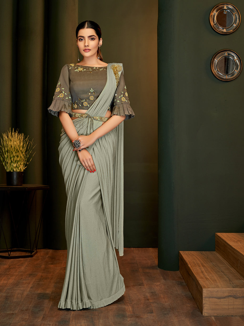 Grey Lycra Latest Designer Saree Shopping Online