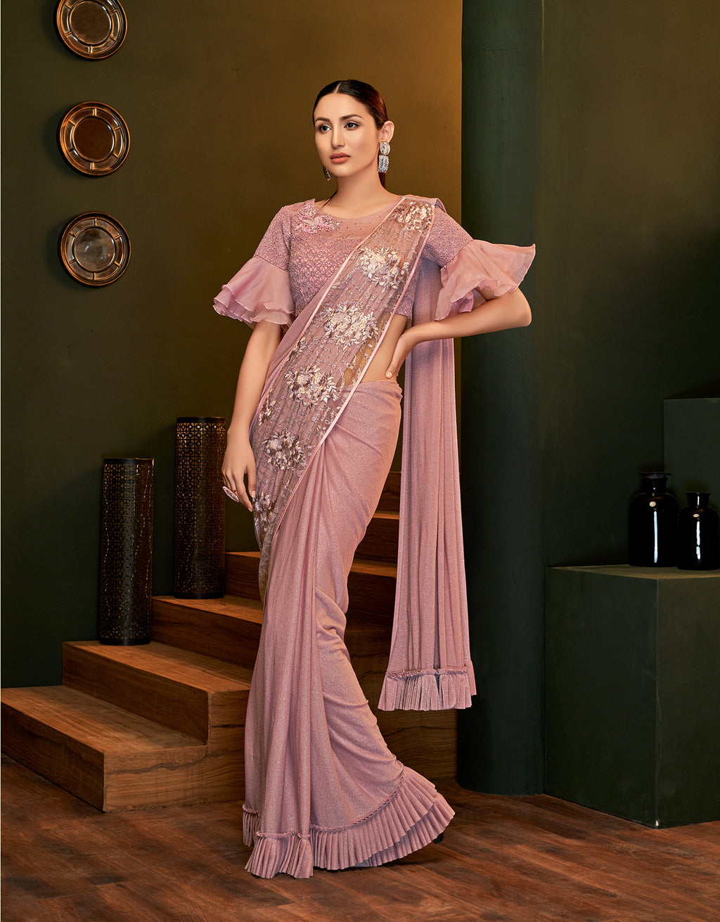 Pink Lycra Shimmer Ruffled Saree Online With Price