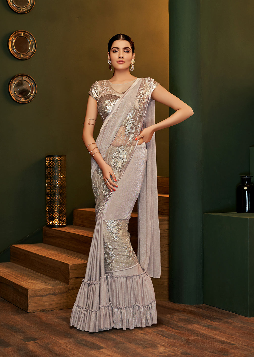 Light Fawn Lycra Shimmer Fashion Designer Saree Online India