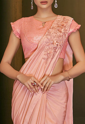 Peach Satin Georgette Indian Party Sarees Online Shopping