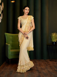 Cream Satin Georgette Fancy Indian Saree Blouse Online Shopping