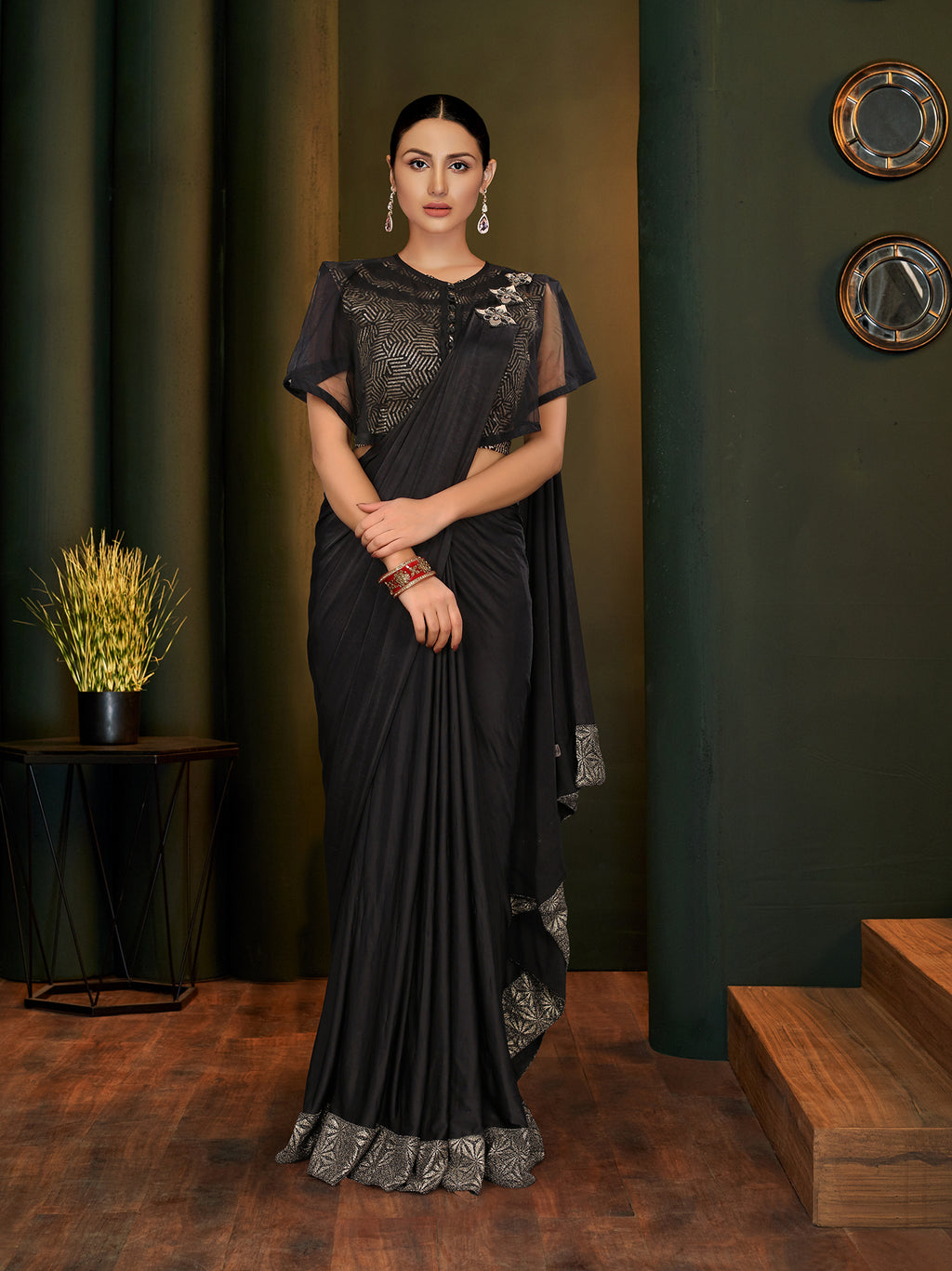Black Lycra Fancy Party Sarees New Fashion India Online