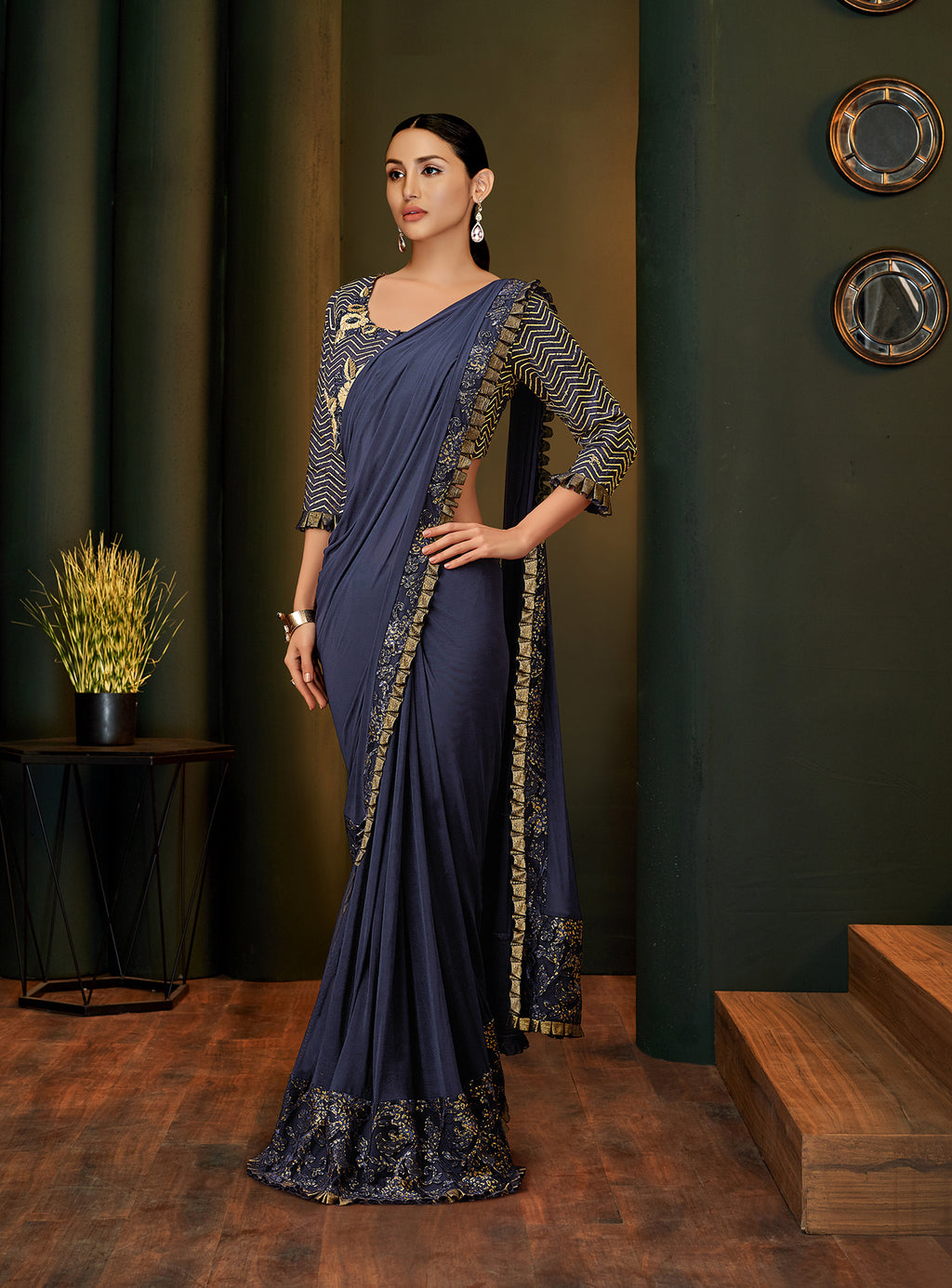 Navy Blue Lycra Party Wear New Stylish Sarees Online Shopping