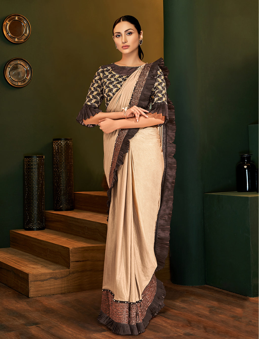 Beige Lycra Shimmer Party Wear Sarees Online Shopping In India