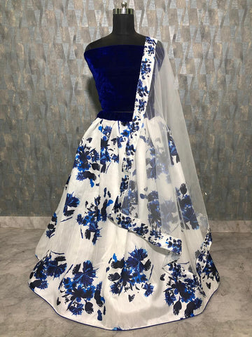 White Banglori Satin Silk Printed Latest Lehenga Style