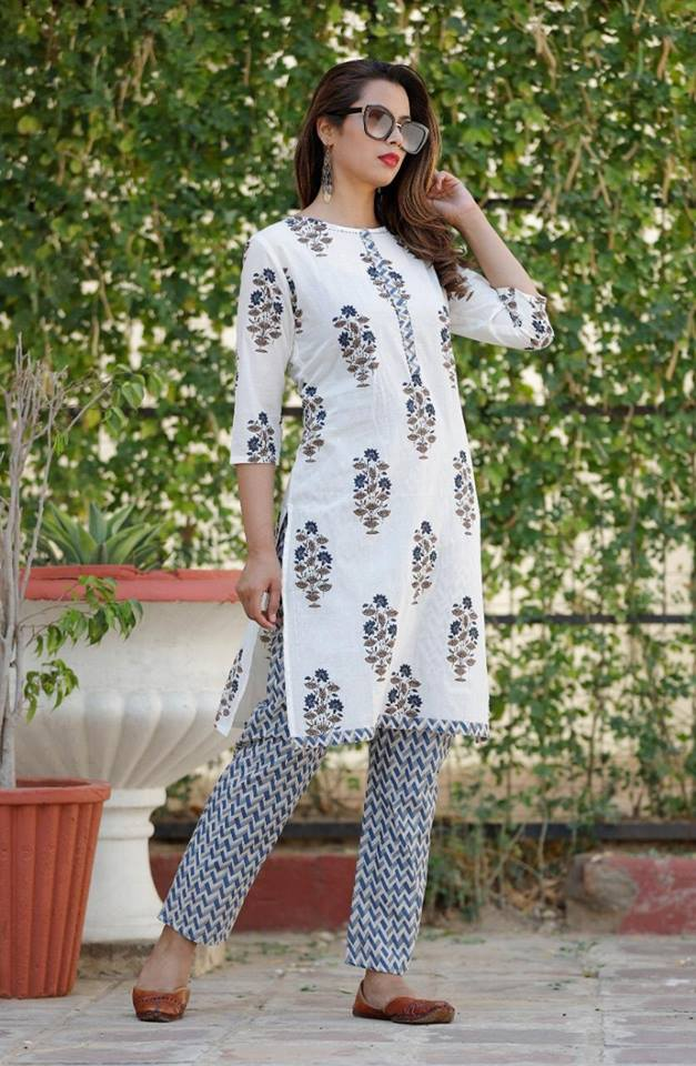 Off White Cotton Latest Kurta And Palazzo Sets Online Shopping