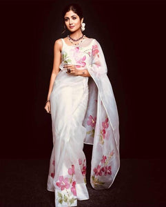 Shilpa Shetty White Floral Printed Organza Latest Indian Saree Designs Online