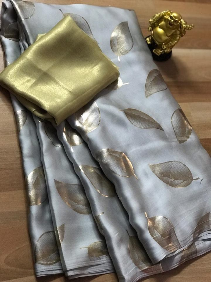 Light Grey Satin Silk Leaf Printed Fancy Online Shopping Sarees Offers