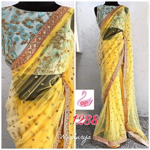Yellow Net Latest Party Wear Indian Saree Online Shopping