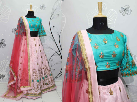 Blush Pink Silk Latest Designs Ghagra Choli Indian Clothes Lehenga
