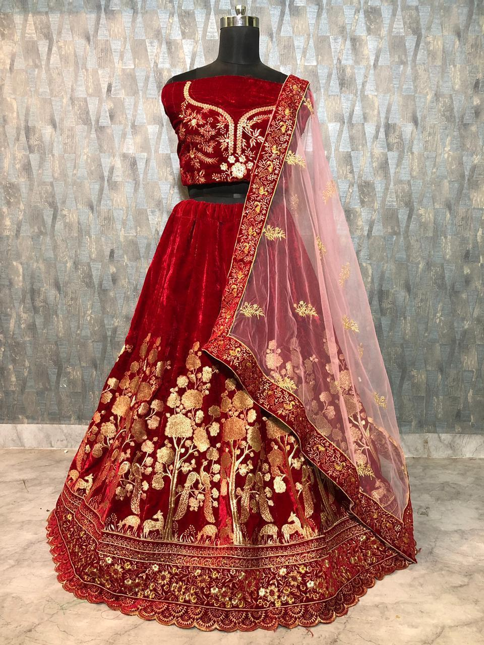 Maroon Velvet Embroidery New Indian Marriage Wear Lengha Choli Online Indian Dresses