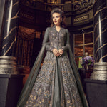Grey Embroidered Net Party Wear Dresses Salwar Kameez Lehenga