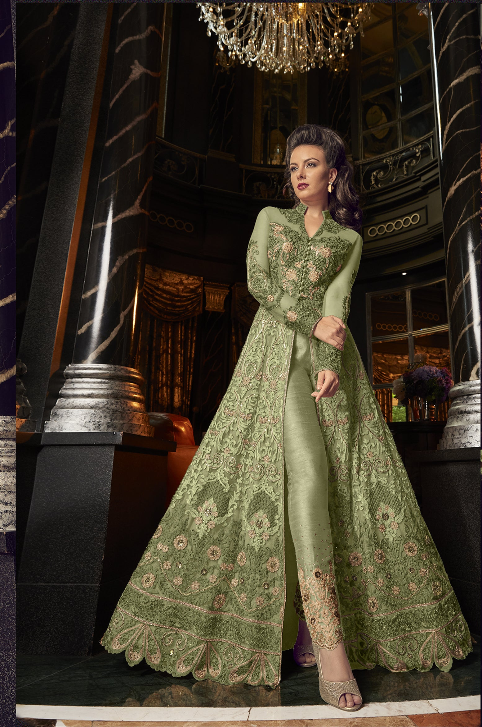 Olive Green Embroidered Net Party Wear Dresses Salwar Suit Design Latest