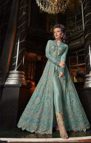 Aqua Blue Embroidered Net Stylish Salwar Kameez Designs Online