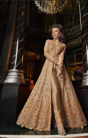 Beige Embroidered Net Lehenga Salwar Kameez India Online Shop