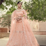 Peach Embroidered Net Latest Wedding Lehenga Choli Designs