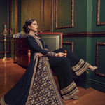 Navy Blue Embroidered Jacket Style Palazzo Indian Latest Designer Suits