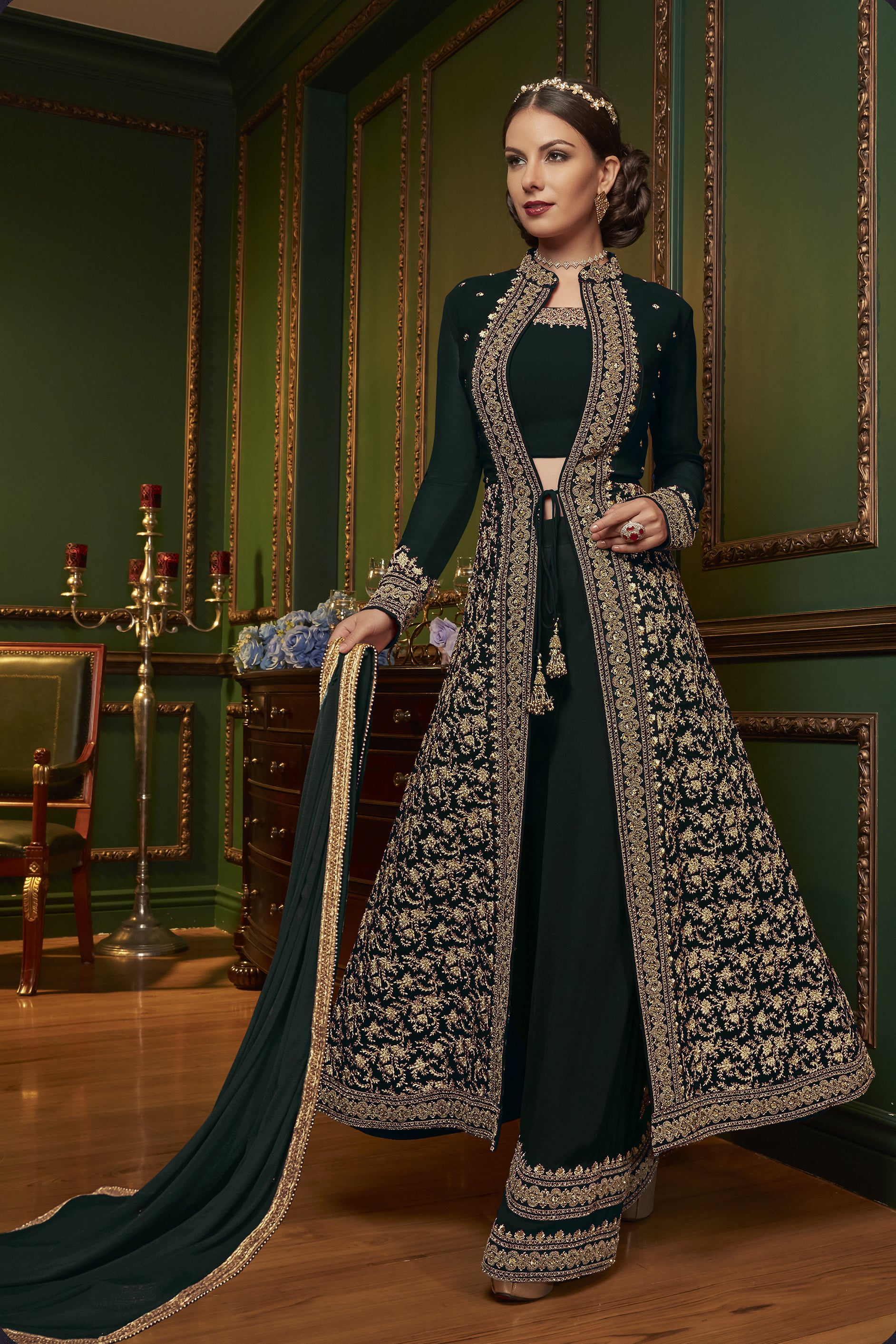 ad2d58ddf8a Green Embroidered Jacket Style Salwar Kameez Material Online India
