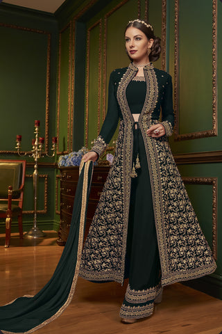 Green Embroidered Jacket Style Salwar Kameez Material Online India