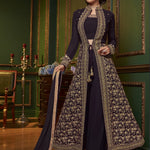 Dark Mauve Embroidered Jacket Style Palazzo Long Kameez With Trousers