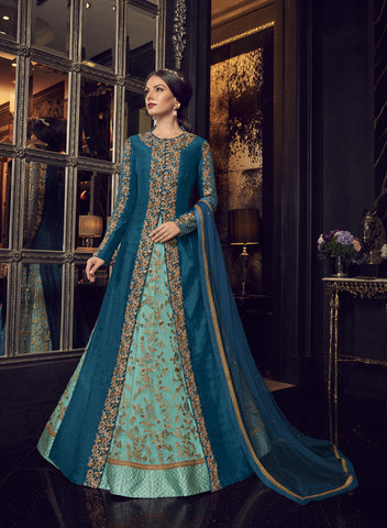 Turquoise Net Embroidered Abaya Style Party Wear Women Suits