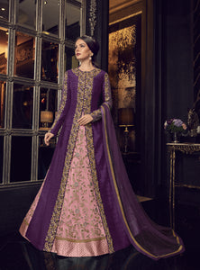Pink Net Embroidered Abaya Style Latest Wedding Wear Salwar Kameez