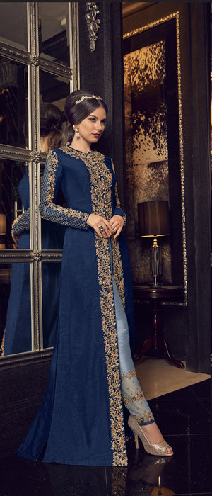 Powder Blue Embroidered Abaya Style Suit Latest Trends In Salwar Kameez