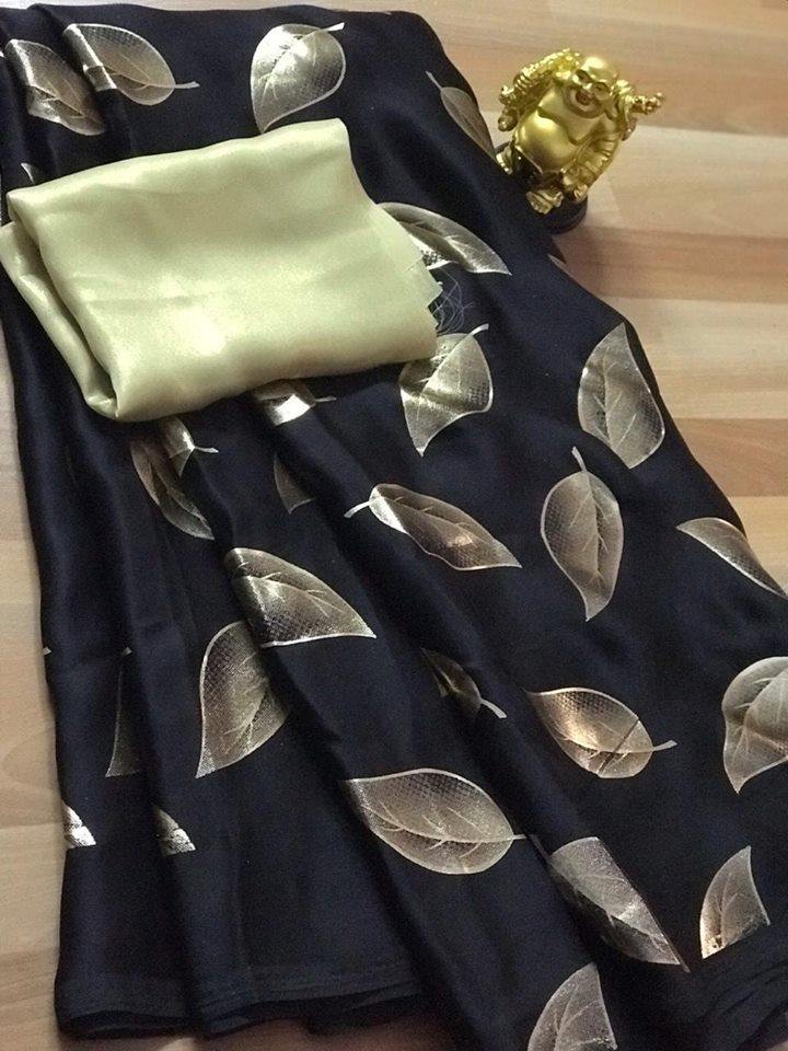 Classic Black Satin Silk Leaf Printed Fancy Sarees For Women Online