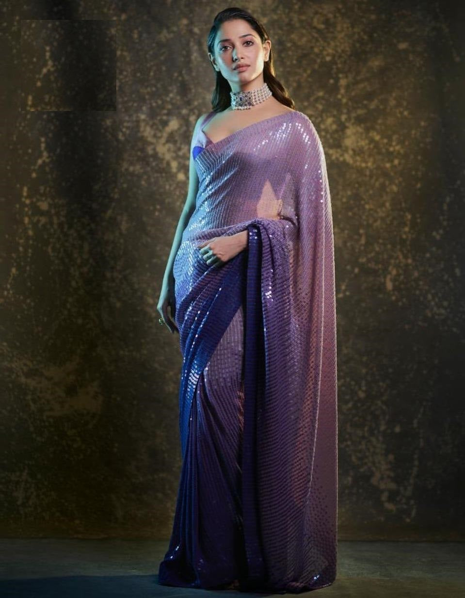 Purple Ombre Sequin Saree In Georgette With Satin Silk Blouse