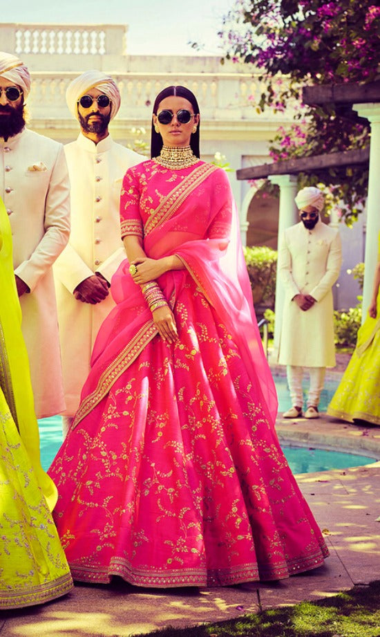 Charming Pink Embroidery Silk Latest Lehenga Choli Wedding Dresses