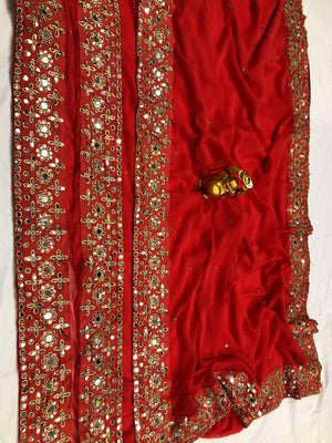 Red Embroidery In Georgette latest sarees online shopping india