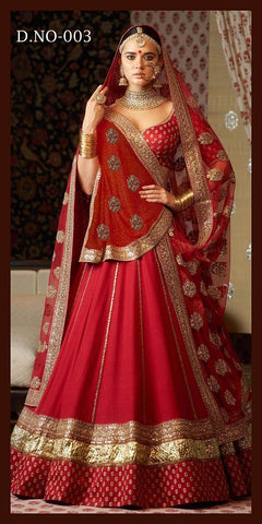 Red Taffeta Silk Embroidery Party Wear Latest Ghagra Choli Designs