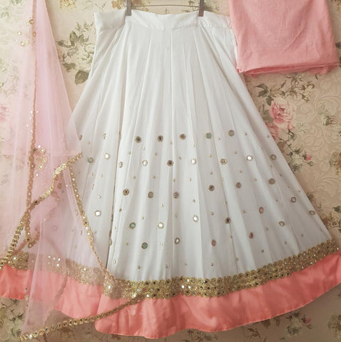 White Georgette Mirror Work Bollywood Lehenga Choli