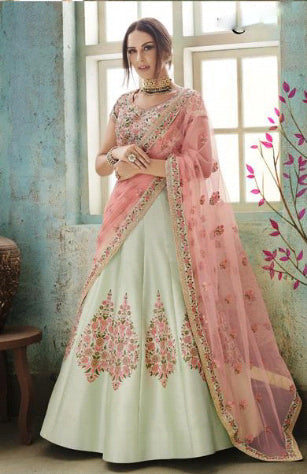Pista Satin Silk Party Wear Stylish Lehenga Choli Online Shopping