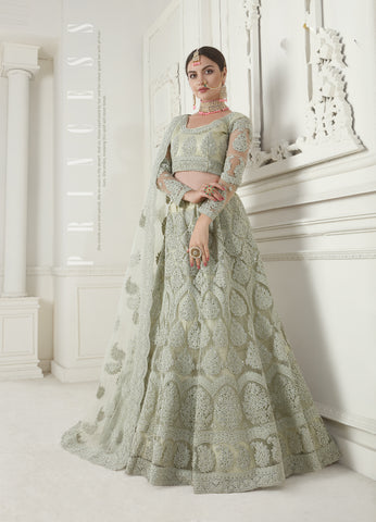 Sage Green Net Embroidered Latest Wedding Lehenga Collection